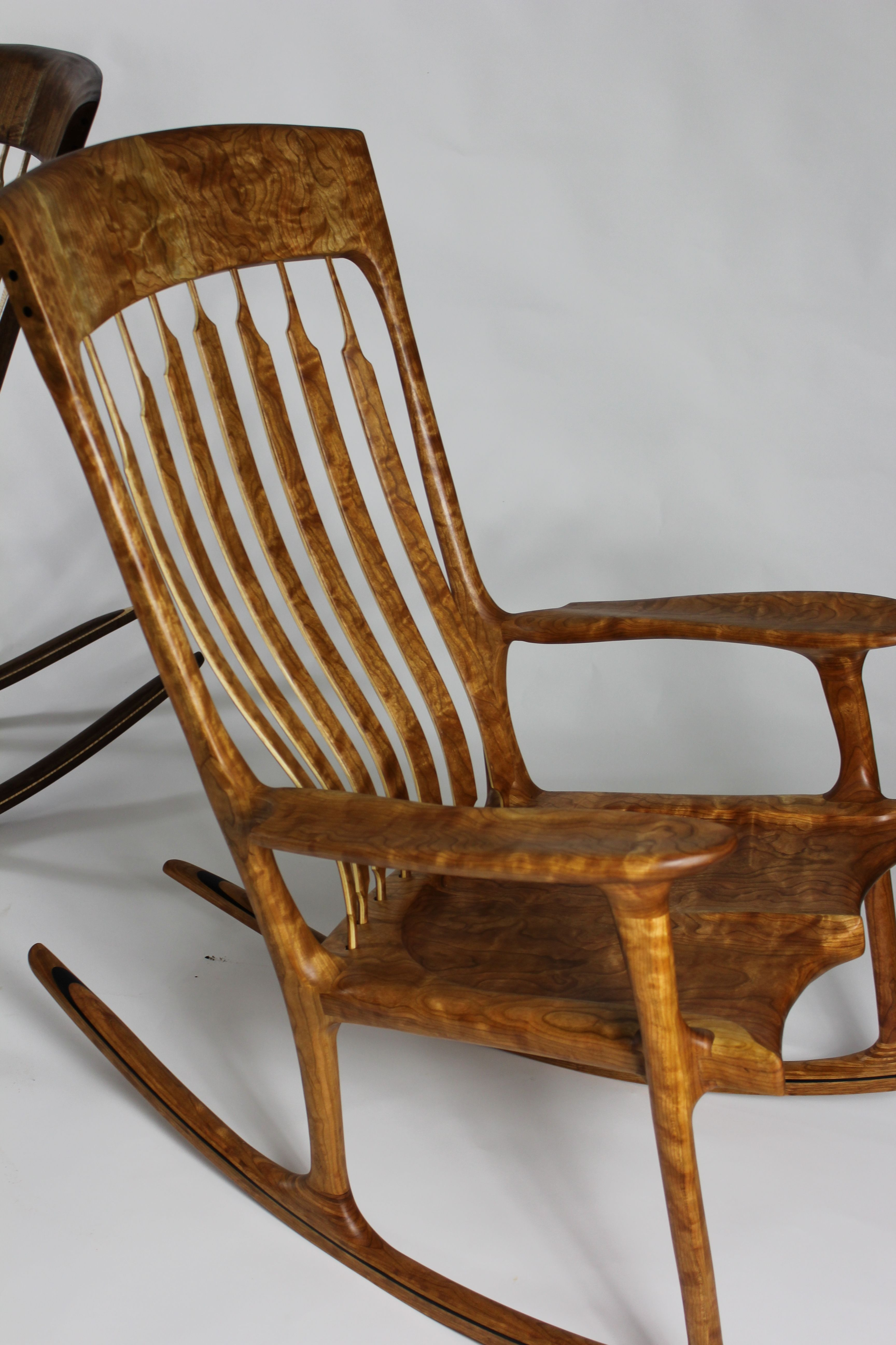 Rocking Chair Fine Woodworking Swivel Red Curly Cherry Ebony Rocker Jose A Berenguer Artist