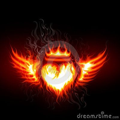 Flaming Heart Of A Flaming Heart With Bright Flaming Wings On A Dark Background Heart With Wings Fire Heart Fire Crown