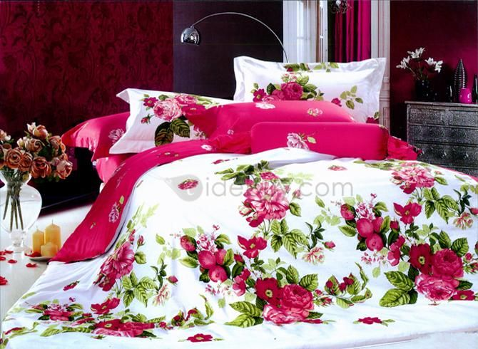 Red Peony With Green Leaves 4 Piece Bedding Sets Bedding Sets