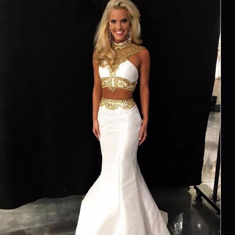White And Gold Prom Dresses 98