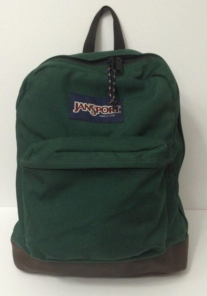 Vintage JanSport USA Backpack Brown Leather Bottom Green Bag  JanSport   Backpack 51354b97b81ff