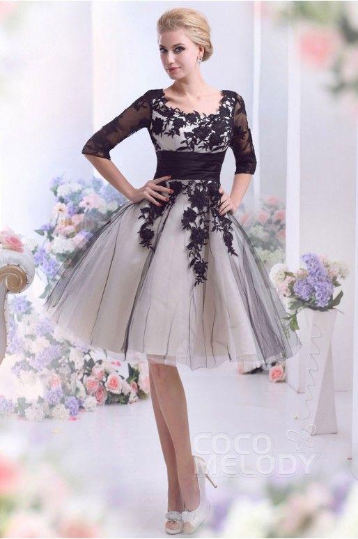 Short wedding dresses black and white