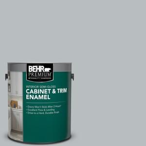 Behr Premium 1 Gal Ppu18 05 French Silver Semi Gloss Enamel Interior Cabinet And Trim Paint 712001 The Home Depot Painting Trim Behr Premium Behr