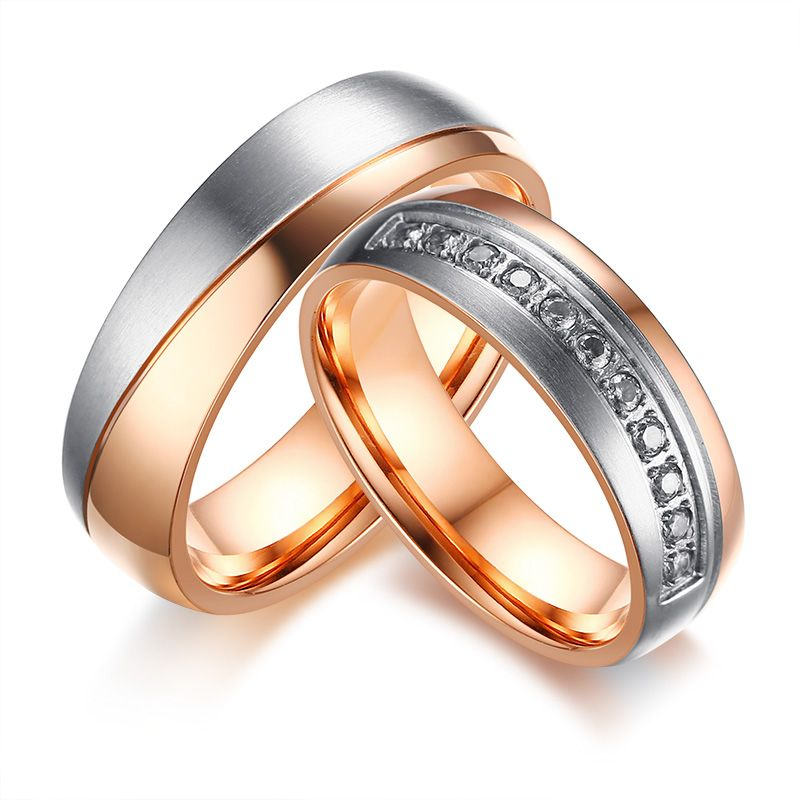 US 158 Wholesale Stainless Steel Mens Rose Gold Wedding Band