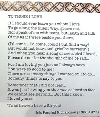 To Those I Love Isla Paschal Richardson Till We Meet Again