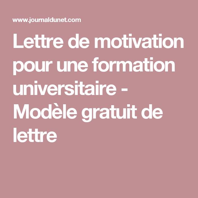 Lettre De Motivation Pour Une Formation Universitaire