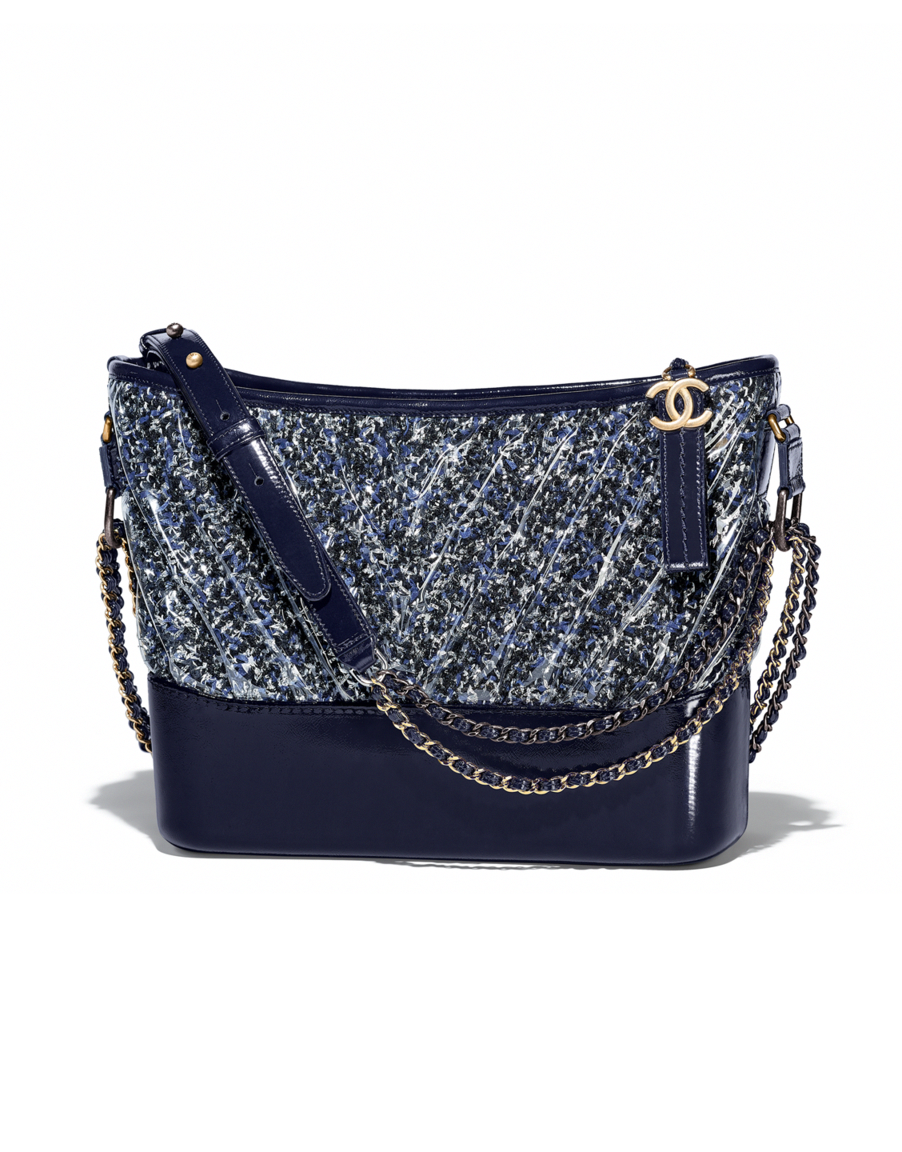 9549460a65c6 CHANEL's GABRIELLE hobo bag, tweed, pvc, patent calfskin, silver-tone &  gold-tone metal-navy blue, black & white - CHANEL #Chanelhandbags