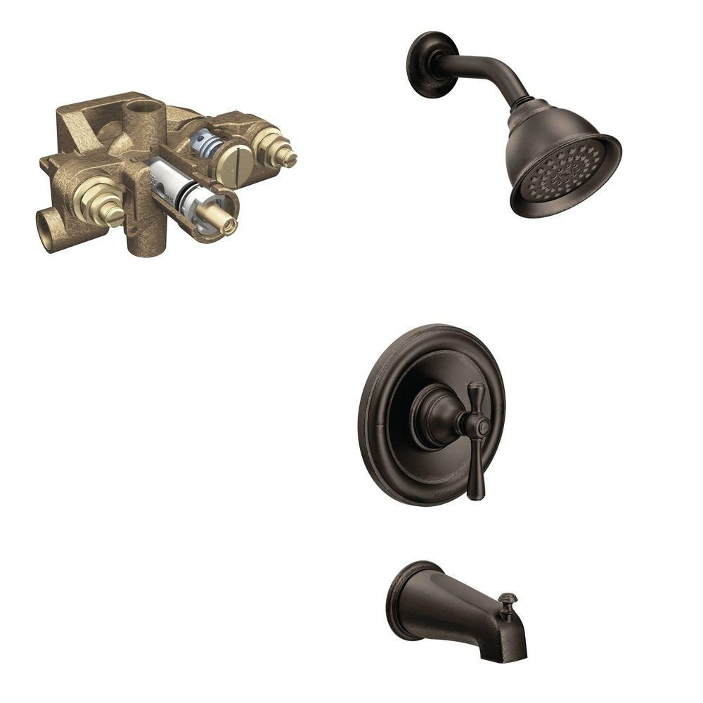 MOEN Kingsley Single Handle 1 Spray Tub And Shower Faucet Trim Kit With  Valve