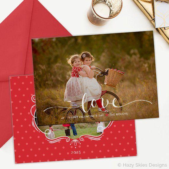 Valentine S Day Card Template Valentine S Day Card Etsy In 2021 Valentines Day Card Templates Holiday Card Template Card Template