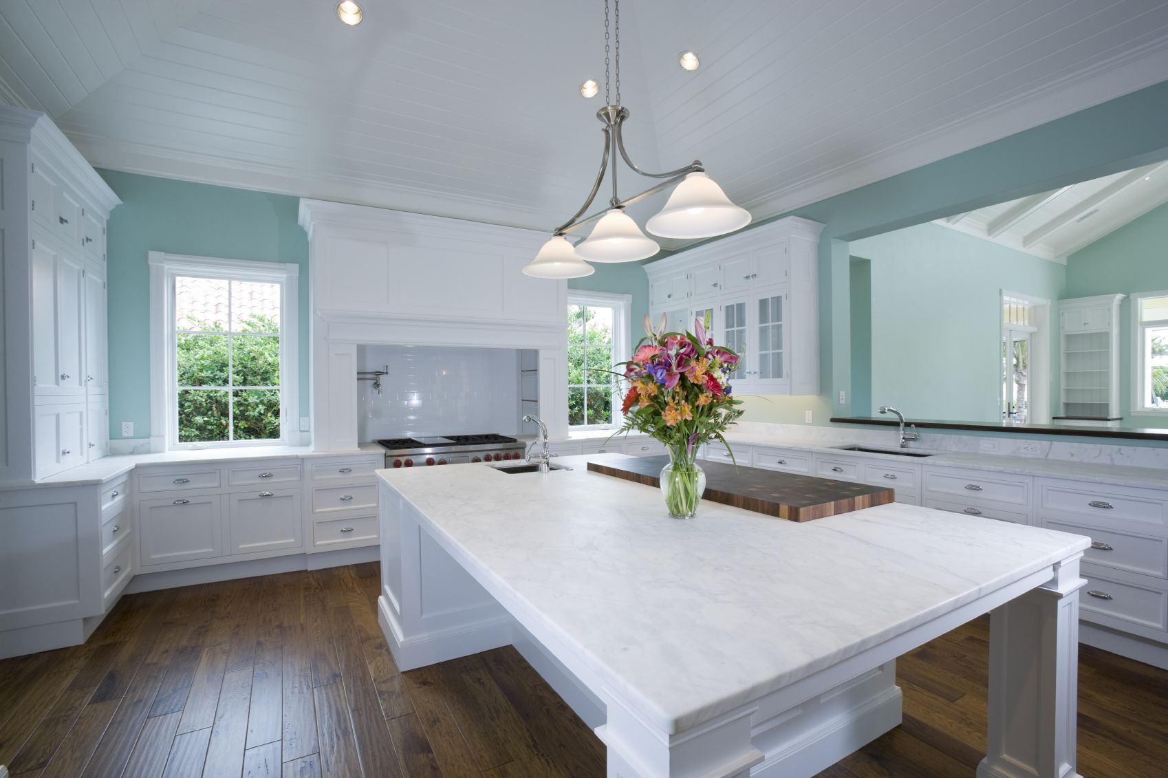 Elegant marble kitchen island countertop...imagine this in your home ...