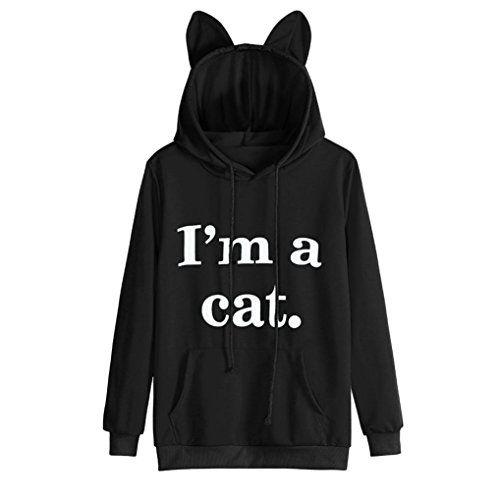 688f1b9d7 Mr.Macy Womens Cat Long Sleeve Hoodie Sweatshirt Hooded Pullover Tops Blouse