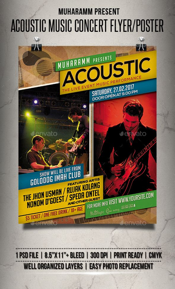 Acoustic Music Concert Flyer  Poster  Acoustic Music Concert