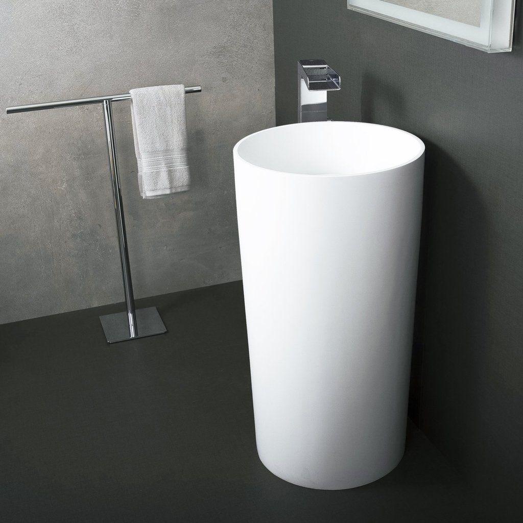 Dax Solid Surface Round Pedestal Freestanding Bathroom Sink White