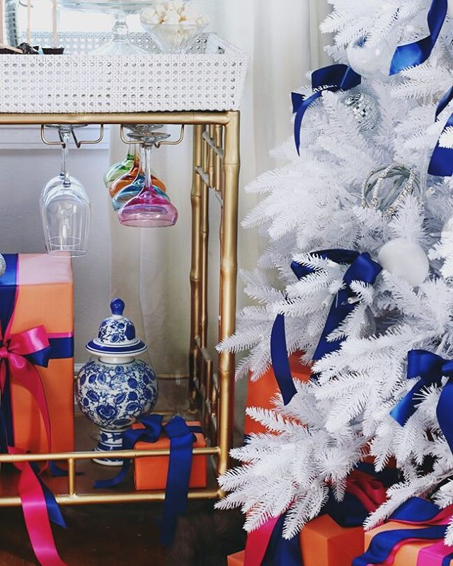 Nights in are more magical during the holidays  Adore our Madison Mixer #barcart avail in 18 finishes and this glowing white tree chez @hunted_interior! Kristin, you always make us feel at home! Thank you so much for sharing! #stylishcustomers