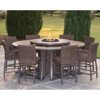 Agio Brentwood 11-piece High Dining Set with Firetable in 2020   Outdoor furniture sets, Outdoor ...