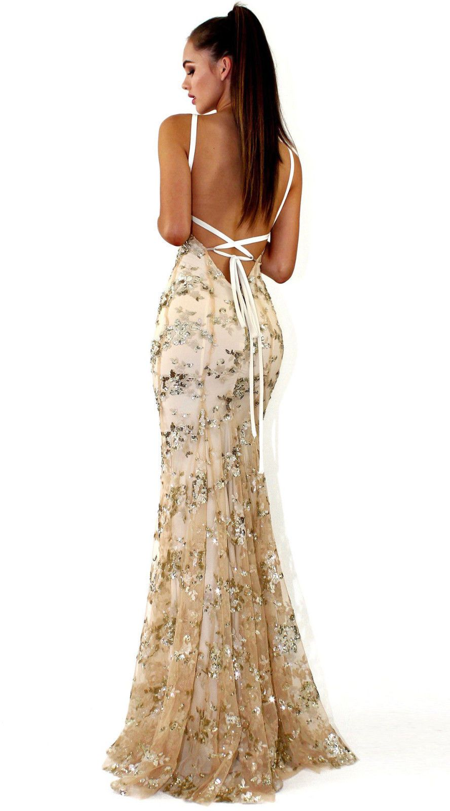 Details about sequin gown plunge backless maxi dress