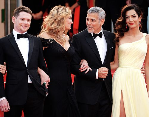 Jack O'Connell, Julia Roberts, George Clooney and Amal Clooney attend the 'Money Monster' premiere during the 69th annual Cannes Film Festival at the Palais des Festivals on May 12, 2016 in Cannes, France.