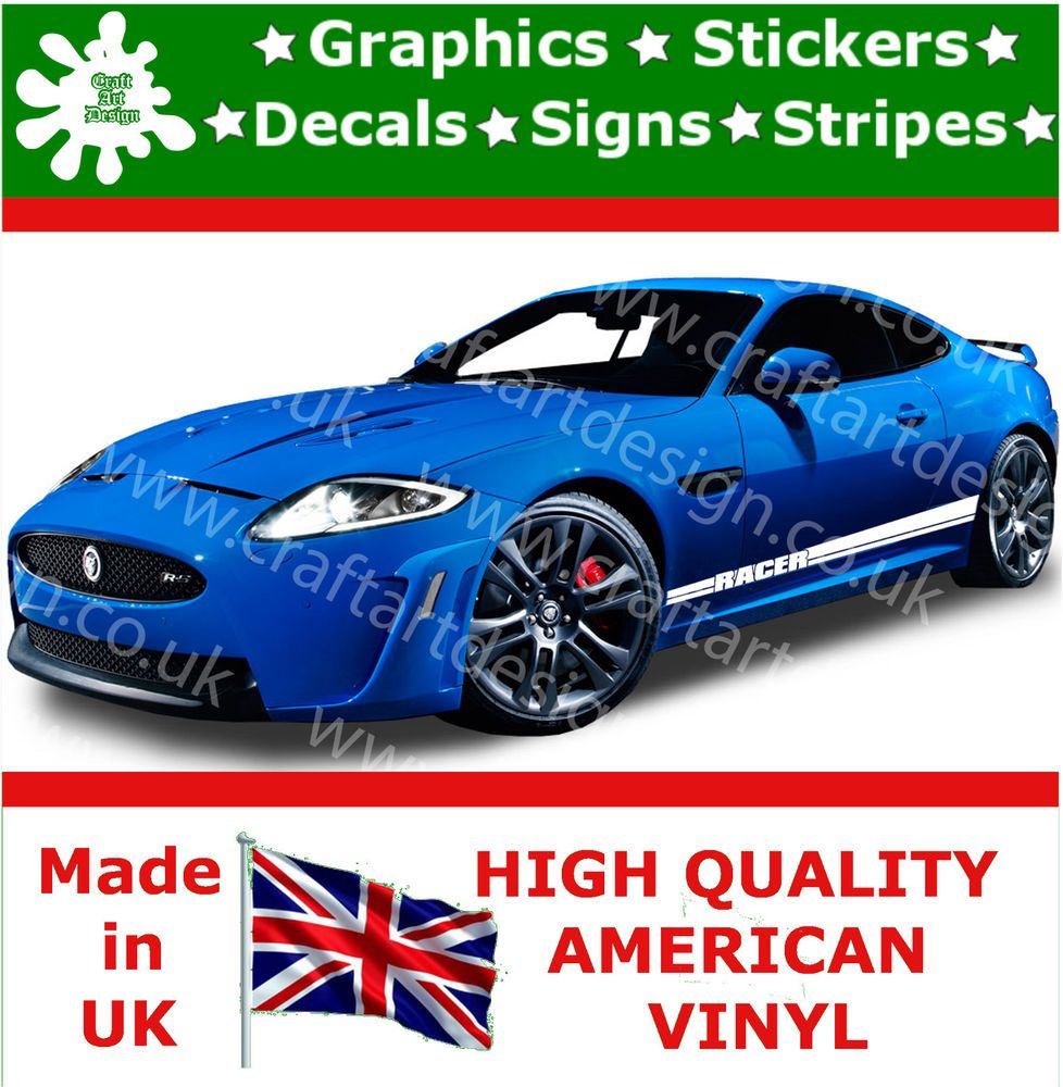 Car side body sticker design - Jaguar Rs Large Side Racer Stripe Kit Car Stickers Vinyl Race Car Decals Jdm 13 In Vehicle Parts Accessories Car Tuning Styling Body Exterior