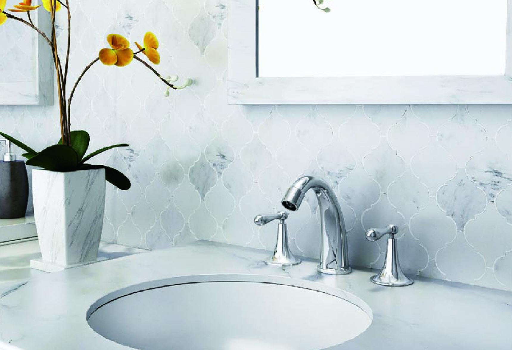 Bianco Carrara White Marble Arabesque Lantern Moroccan Tile Honed ...