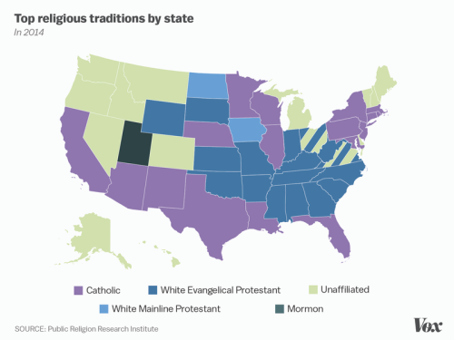 Top religious traditions by US state Maps United States Pinterest