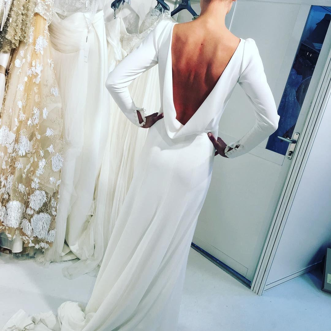 Long sleeved backless wedding dress avialble from The Bridal ...