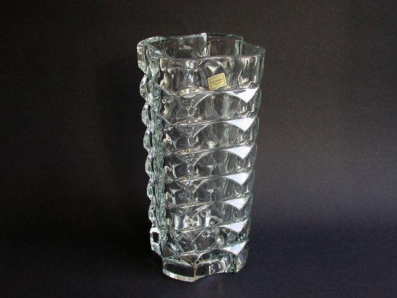 Large Heavy Vase Glass Vase Luminarc France 70s Vintage Luminarc Glass Glass Vase