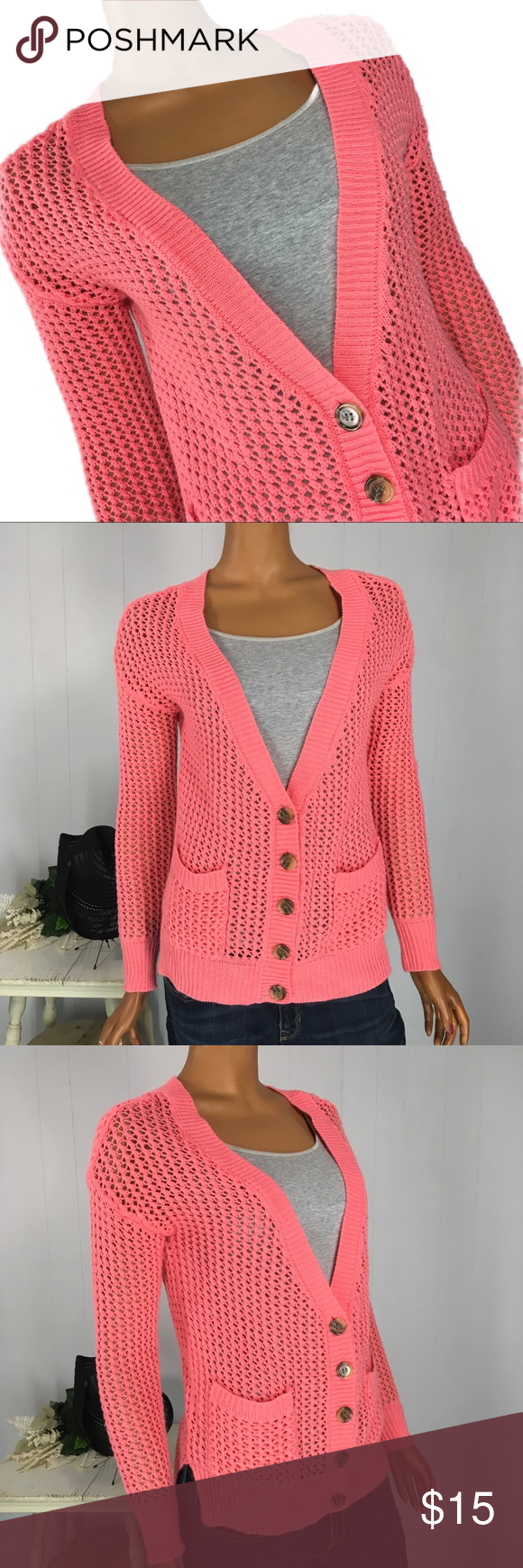 Sweater Project Pink Coral V Neck Open Weave L (With ...
