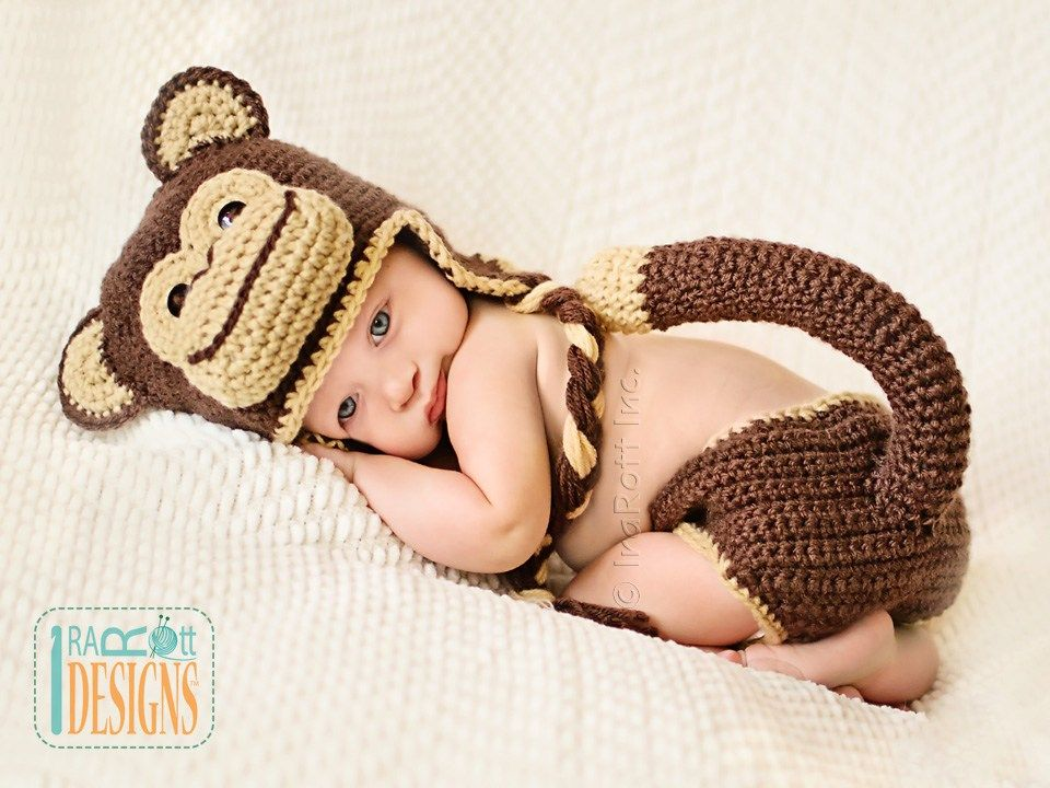 Chimpanzee monkey animal hat and diaper cover for babies crochet chimpanzee monkey animal hat and diaper cover for babies crochet pattern by irarott dt1010fo
