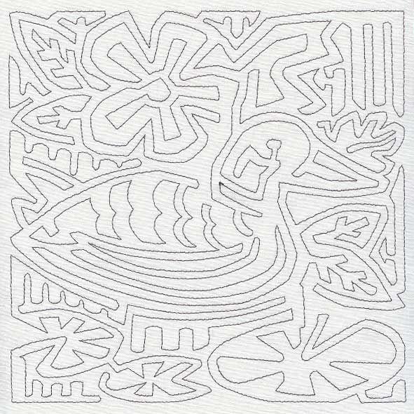 Mola Argentine Duck Quilting Square (Single Run