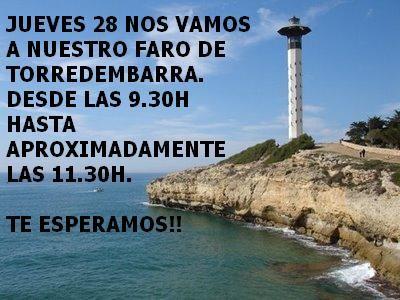 Hola! El jueves 28 8ª caminata hacia el faro de Torredembarra. Unos 7 km que disfrutaremos desde las 9.30-11.30h aproximadamente. Anímate, te esperamos!!