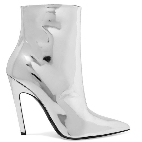 Balenciaga Mirrored-leather ankle boots ($760) ❤ liked on Polyvore featuring shoes, boots, ankle booties, zipper booties, balenciaga, high heel ankle boots, bootie boots and high heel boots