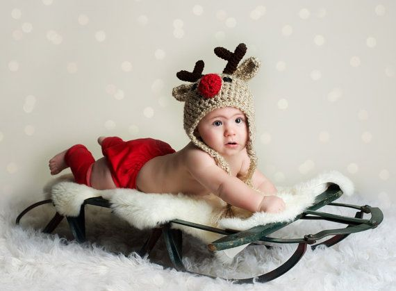 979a32d7e10f0 Baby Hat - Reindeer Hat - READY to SHIP Baby Reindeer Hat - Oatmeal ...