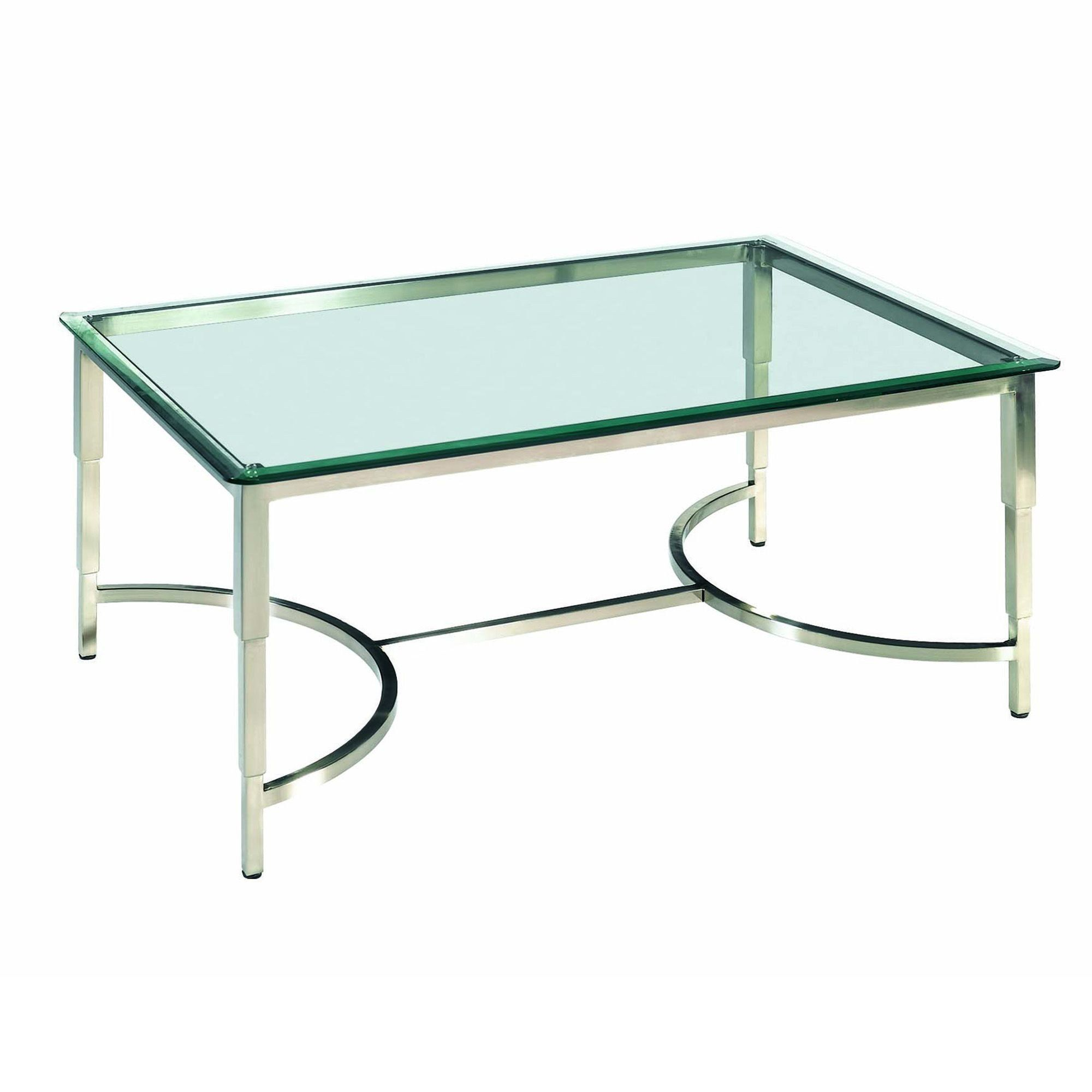 - Sheila Rectangular Glass Top Cocktail Table Stainless Steel