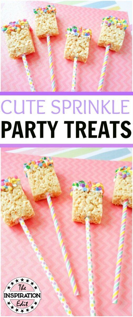 White Chocolate Rice Krispies Birthday Treat Pops · The Inspiration Edit