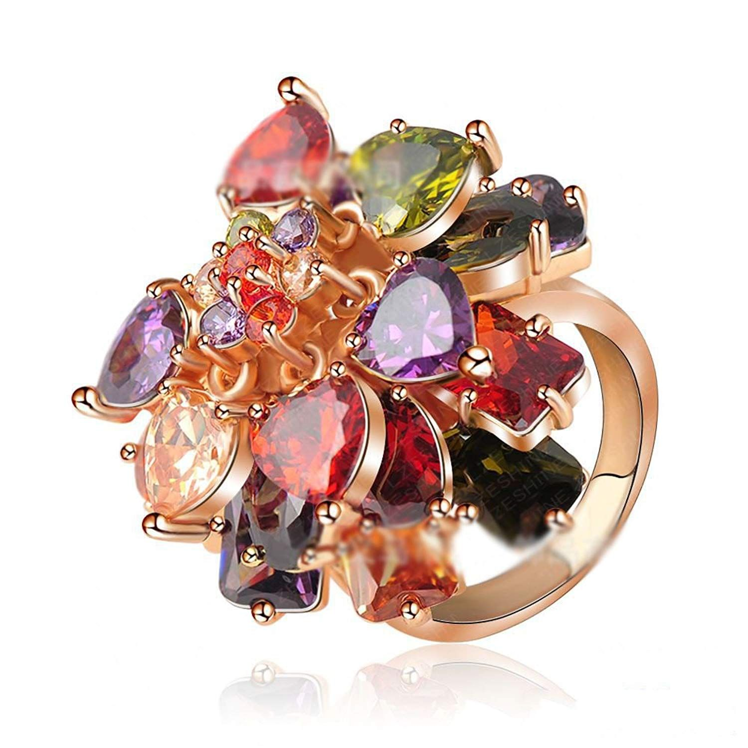 4c234657c LuckyWeng New Exquisite Fashion Jewelry Rose Gold Flower Austrian Crystal  Multicolour Diamond Ring *** We appreciate you for seeing our photo.
