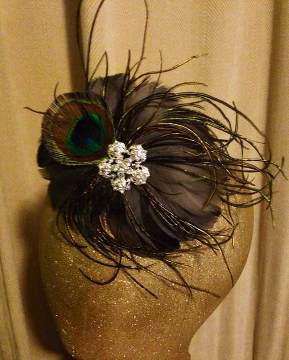 Grey/Gray and Peacock Feather Pad by YoungSparkleandShine on Etsy, $16.00