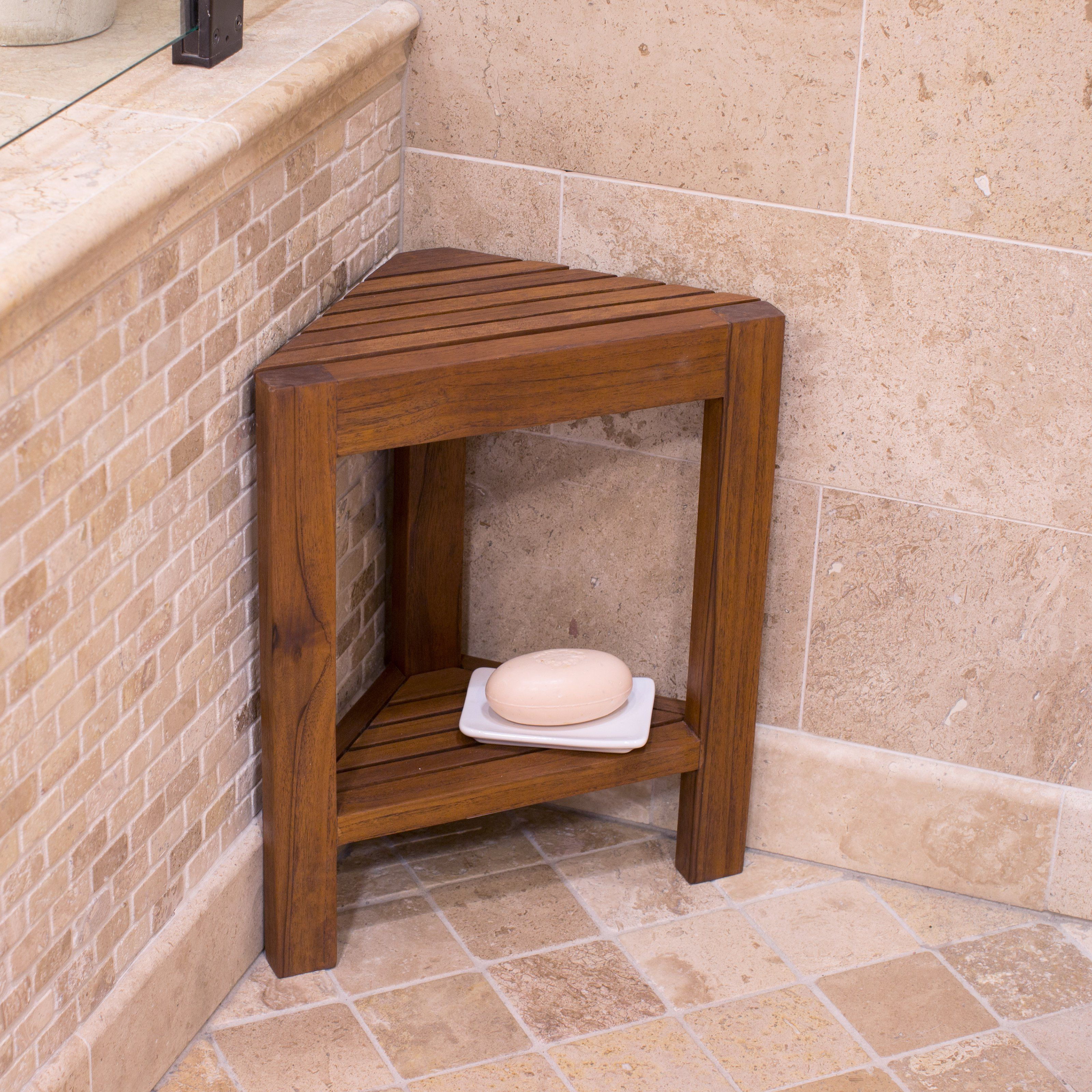 Belham Living Corner Teak Shower Bench With Shelf   Bathtub U0026 Shower  Accessories At Hayneedle