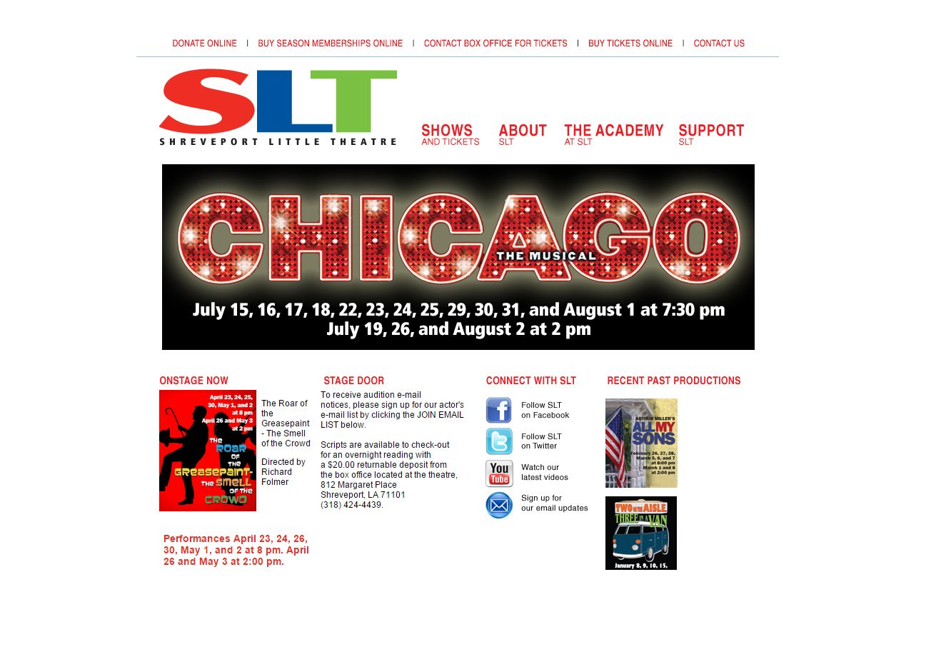New website for Shreveport Little Theatre, a local community theatre organization.