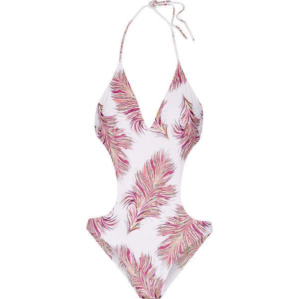 Vix Krishna Luca Cutout Printed Halterneck Swimsuit Halter Neck Swimsuit Halter Top Swimsuits Halter One Piece Swimsuit