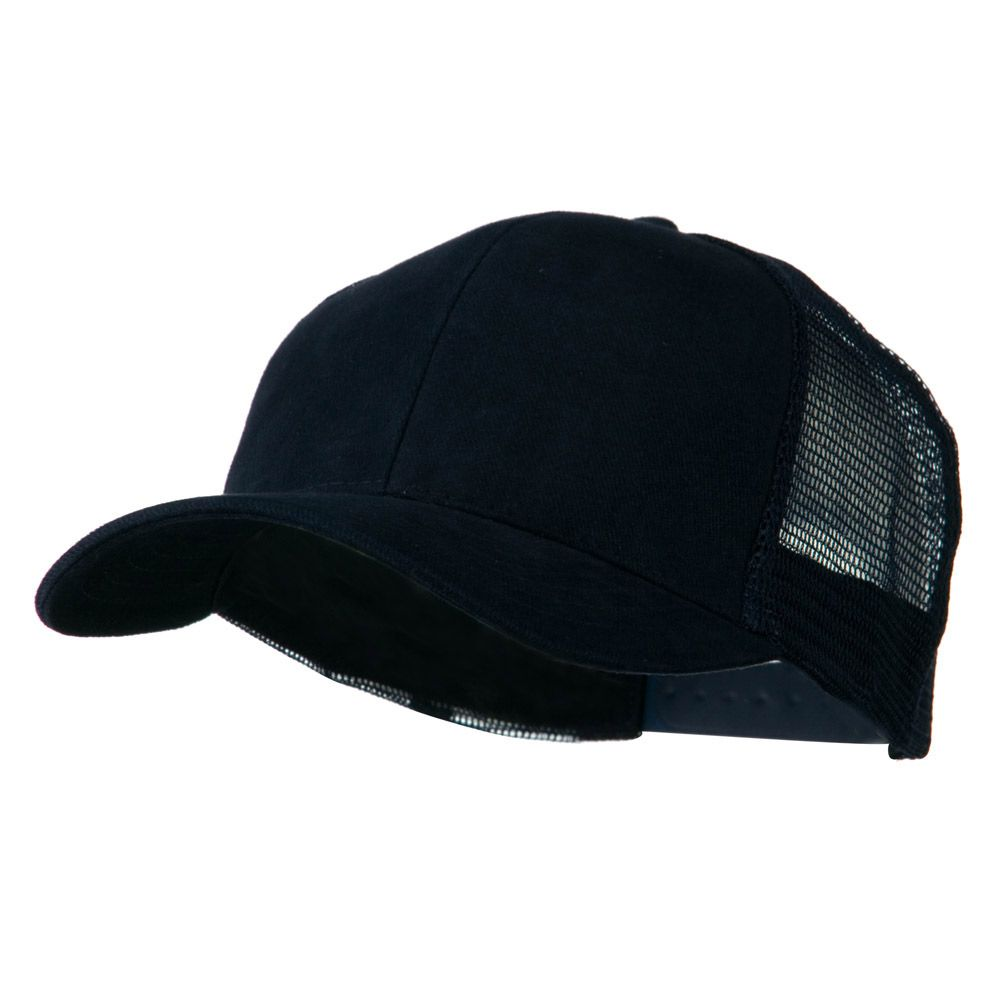 Cotton Brush Mesh Trucker Cap - Navy