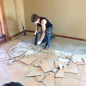 Renovating 101 Removing Tile From Concrete Removing Floor Tiles Tile Removal Concrete Floors