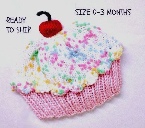 Cupcake Hat with Cherry on Top Cotton Candy Pink Cake Marshmallow ...