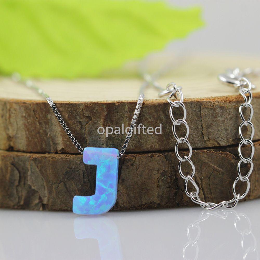 >> Click to Buy << Promotion 1pc/lot OP06 Light Blue letter J 6.3*9.5mm Synthetic Opal J Letter Necklace 925 Silver Sterling Letter Opal Necklace #Affiliate