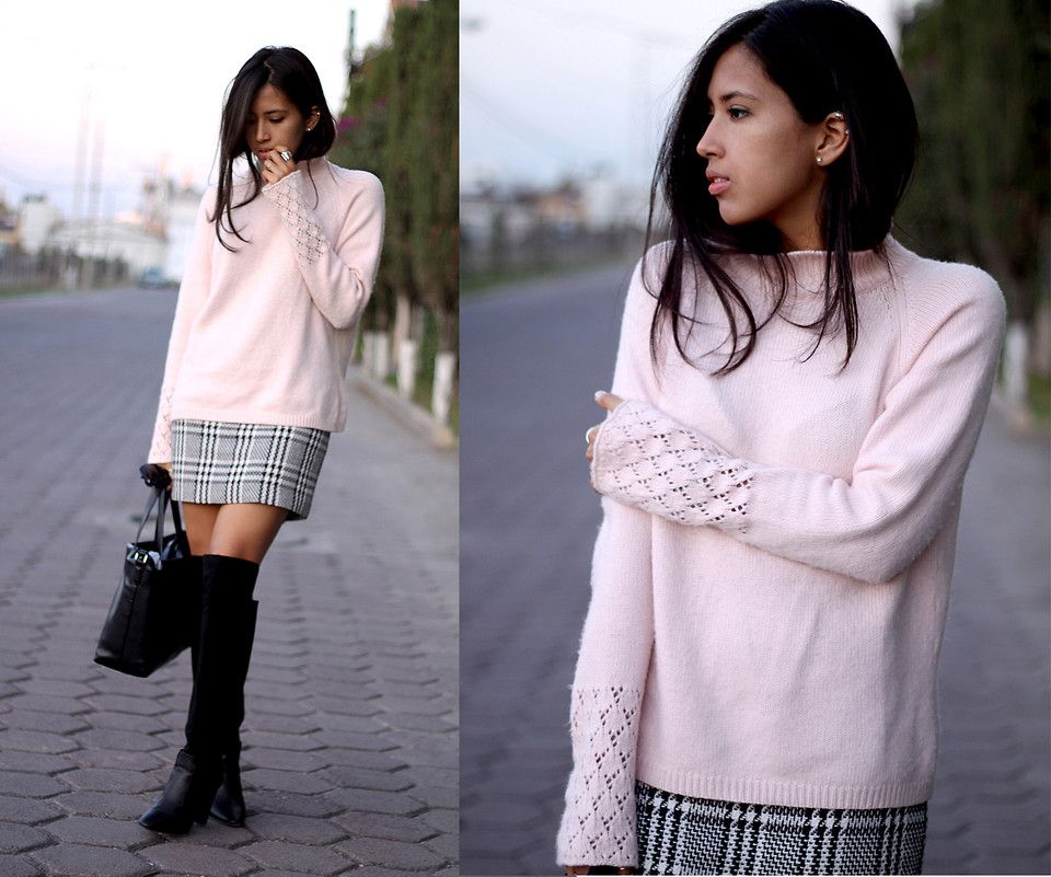 Skirt and Boot Outfits | _plaid-skirt-black-and-white-over-the ...