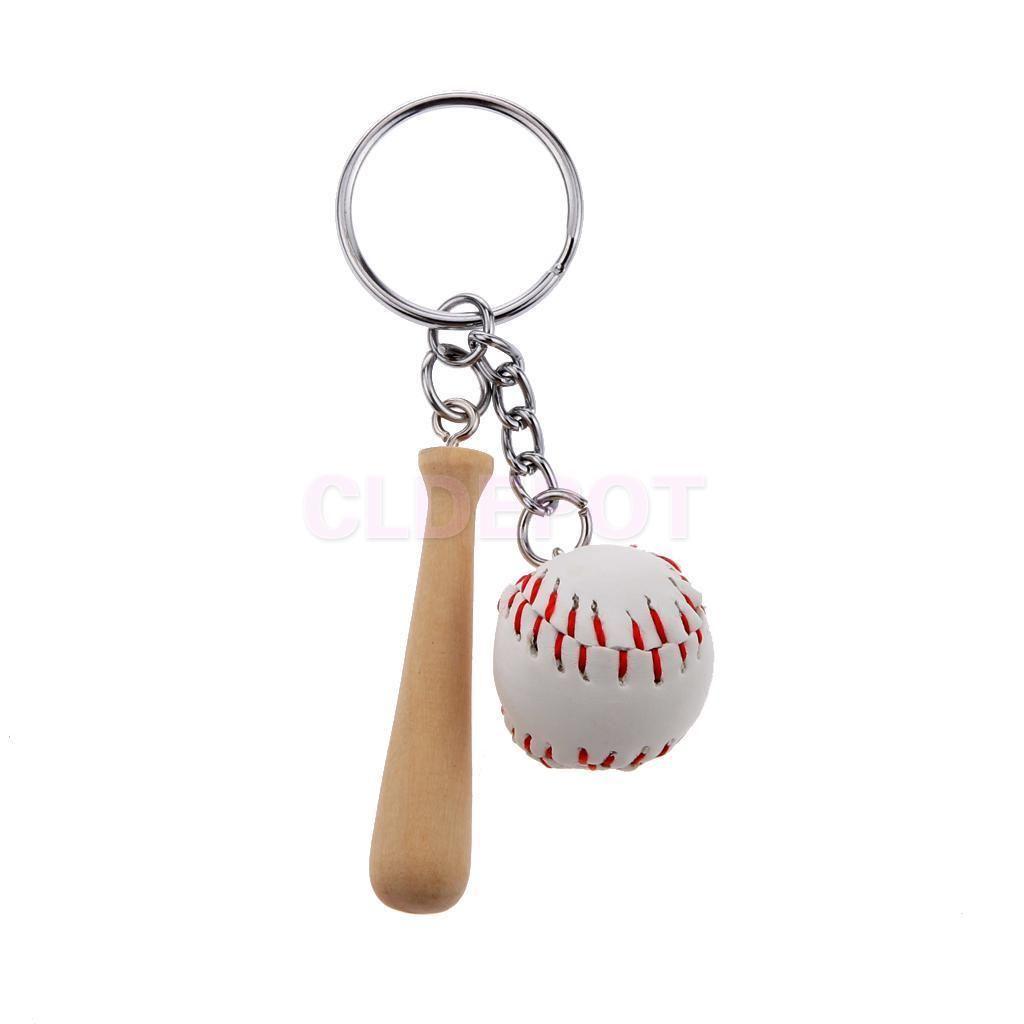 Mini baseball ball wood bat set pendant keyring key chain kids gift