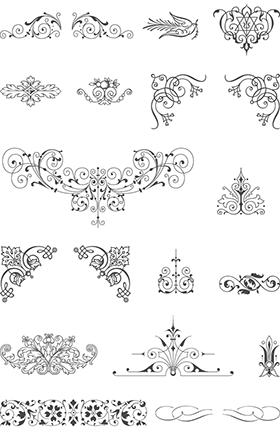 Libre vintage vector pack 85 ornamentos del vector 20 for Cenefas para dibujar