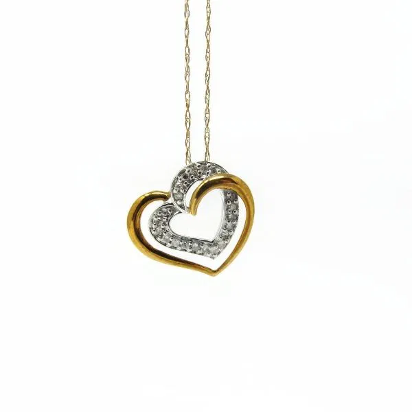 10k Gold Heart Diamond Pendant And Chain Diamond Heart 10k Gold Chain Diamond