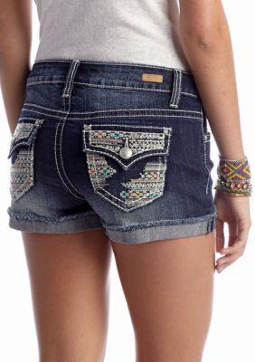 Red Camel  Embroidered Pocket Jean Short