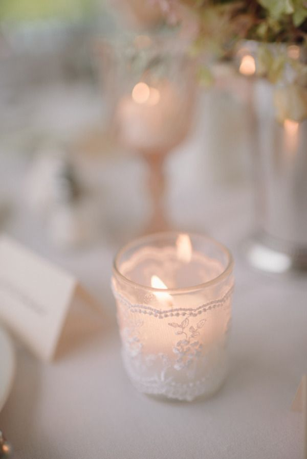 adding lace romance to a simple votive   Photography by paperantler.com
