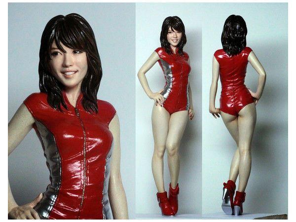 1:12 unpainted resin model kit, sexy racing anime girl mini figure